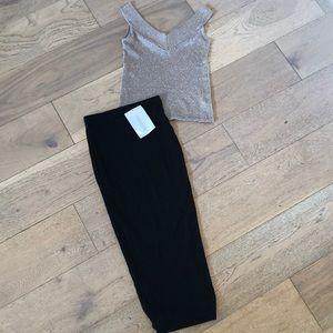 Naked Wardrobe Black Midi Pencil Skirt